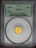 Commemorative Gold: , 1905 G$1 Lewis and Clark MS62 PCGS. The amber surfaces haveattractive luster with slight prooflike reflectivity in parts o...