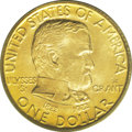 Commemorative Gold: , 1922 G$1 Grant With Star MS65 PCGS. Enormously appealing, this Gemboasts superior deep orange-gold, consistent color on bo...