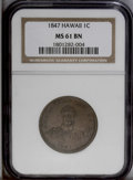 Coins of Hawaii: , 1847 1C Hawaii Cent MS61 Brown NGC. Plain 4, 17 berries. M. 2CC-3.A scarce die marriage. Nicely detailed with delicate vio...
