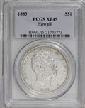 Coins of Hawaii: , 1883 $1 Hawaii Dollar XF45 PCGS. Traces of reflective luster appearat the periphery. Light, ...