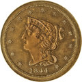 Proof Braided Hair Half Cents: , 1844 1/2 C Original PR65 Red and Brown NGC. B-1, R.6. Ex: P.Kaufman. Only about 15 different examples are known today, and...