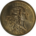 1793 1C Wreath Cent--Vine and Bars--MS62 Brown NGC. S-8, Low R.3. This obverse die outlasted four different reverse dies...
