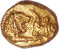 Ancients:Greek, Ancients: Croesus. Ca. 560-546 BC. AV one-sixth stater, lightseries (9mm, 1.33 gm)....