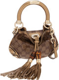 Luxury Accessories:Bags, Gucci Metallic Gold & Classic Monogram Waxed Canvas MiniCrossbody Indy Bag. ...