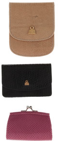 Luxury Accessories:Accessories, Judith Leiber Set of Three; Beige Lizard Wallet, Black Lizard Change Purse & Pink Lizard Change Purse. ... (Total: 3 Items)