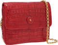 Luxury Accessories:Bags, Chanel Red Crocodile Small Flap Bag with Gold Hardware. ...