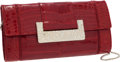 Luxury Accessories:Bags, Judith Leiber Shiny Cherry Red Alligator Clutch with Shoulder Strap& Jeweled Clasp. ...