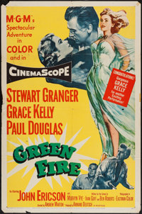 """Green Fire (MGM, 1954). One Sheet (27"""" X 41"""") and Title Lobby Card and Lobby Cards (5) (11"""" X 14"""")..."""