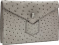 Luxury Accessories:Bags, Yves Saint Laurent Slate Gray Ostrich Envelope Clutch Bag. ...