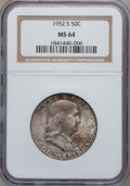 Franklin Half Dollars: , 1952-S 50C MS64 NGC. NGC Census: (648/1228). PCGS Population(1354/1765). Mintage: 5,526,000. Numismedia Wsl. Price for pro...