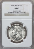 Commemorative Silver: , 1936 50C Boone MS65 NGC. NGC Census: (574/302). PCGS Population(740/386). Mintage: 12,012. Numismedia Wsl. Price for probl...