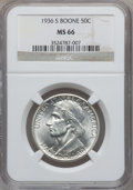 Commemorative Silver: , 1936-S 50C Boone MS66 NGC. NGC Census: (238/33). PCGS Population(237/57). Mintage: 5,006. Numismedia Wsl. Price for proble...