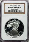 Modern Bullion Coins: , 1990-S $1 Silver Eagle PR70 Ultra Cameo NGC. NGC Census: (1128).PCGS Population (993). Mintage: 695,510. Numismedia Wsl. P...
