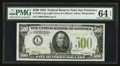 Small Size:Federal Reserve Notes, Fr. 2201-L $500 1934 Light Green Seal Federal Reserve Note. PMG Choice Uncirculated 64 EPQ.. ...