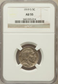 Buffalo Nickels: , 1919-S 5C AU55 NGC. NGC Census: (43/410). PCGS Population (53/574).Mintage: 7,521,000. Numismedia Wsl. Price for problem f...