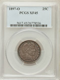 Barber Quarters: , 1897-O 25C XF45 PCGS. PCGS Population (9/85). NGC Census: (3/55).Mintage: 1,414,800. Numismedia Wsl. Price for problem fre...