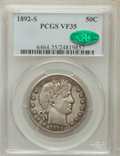 Barber Half Dollars: , 1892-S 50C VF35 PCGS. CAC. PCGS Population (20/202). NGC Census:(0/114). Mintage: 1,029,028. Numismedia Wsl. Price for pro...