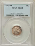 Barber Dimes: , 1903-O 10C MS62 PCGS. PCGS Population (19/60). NGC Census: (17/47).Mintage: 8,180,000. Numismedia Wsl. Price for problem f...