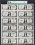 Small Size:World War II Emergency Notes, Fr. 2306 $1 1935A North Africa Silver Certificate Uncut Sheet. PCGSVery Choice New 64PPQ.. ...