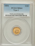 Gold Dollars, 1854 G$1 Type One MS64 PCGS....