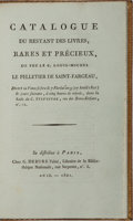 Books:Books about Books, [Books About Books]. Catalogue du Restant des Livres, Rares et Precieux. Debure, 1801. First edition. 45 pages. Cont...
