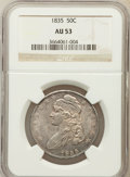 Bust Half Dollars: , 1835 50C AU53 NGC. NGC Census: (62/500). PCGS Population (73/385).Mintage: 5,352,006. Numismedia Wsl. Price for problem fr...