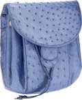 Luxury Accessories:Bags, Judith Leiber Light Blue Pearlescent Ostrich Backpack StyleShoulder Bag. ...