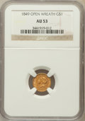Gold Dollars: , 1849 G$1 Open Wreath AU53 NGC. NGC Census: (12/1495). PCGSPopulation (30/1065). Mintage: 687,500. Numismedia Wsl. Price fo...