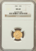 Gold Dollars: , 1861 G$1 MS60 NGC. NGC Census: (34/1077). PCGS Population (31/774).Mintage: 527,499. Numismedia Wsl. Price for problem fre...