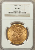 Liberty Double Eagles: , 1887-S $20 MS61 NGC. NGC Census: (321/214). PCGS Population(213/425). Mintage: 283,000. Numismedia Wsl. Price for problem ...