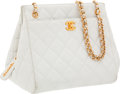 Luxury Accessories:Bags, Chanel White Lambskin Leather Shoulder Bag with Gold Hardware. ...