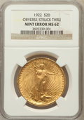 Saint-Gaudens Double Eagles, 1922 $20 -- Obverse Struck Thru -- MS62 NGC. NGC Census:(18181/28264). PCGS Population (11364/22598). Mintage: 1,375,500....
