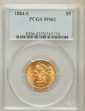 Liberty Half Eagles: , 1884-S $5 MS62 PCGS. PCGS Population (84/60). NGC Census: (87/73).Mintage: 177,000. Numismedia Wsl. Price for problem free...