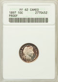 Proof Barber Dimes: , 1897 10C PR62 Cameo ANACS. NGC Census: (3/49). PCGS Population(1/58). ...
