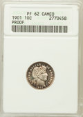 Proof Barber Dimes: , 1901 10C PR62 Cameo ANACS. NGC Census: (1/27). PCGS Population(0/43). ...