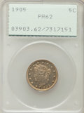 Proof Liberty Nickels: , 1905 5C PR62 PCGS. PCGS Population (24/452). NGC Census: (10/407).Mintage: 2,152. Numismedia Wsl. Price for problem free N...