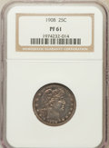 Proof Barber Quarters: , 1908 25C PR61 NGC. NGC Census: (3/161). PCGS Population (7/190).Mintage: 545. Numismedia Wsl. Price for problem free NGC/P...