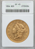 Liberty Double Eagles: , 1856 $20 XF45 ANACS. NGC Census: (48/222). PCGS Population (55/95).Mintage: 329,878. Numismedia Wsl. Price for problem fre...