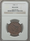 Large Cents: , 1838 1C MS62 Brown NGC. NGC Census: (87/291). PCGS Population(34/216). Mintage: 6,370,200. Numismedia Wsl. Price for probl...