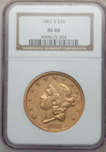 Liberty Double Eagles: , 1861-S $20 XF40 NGC. NGC Census: (72/613). PCGS Population(62/345). Mintage: 768,000. Numismedia Wsl. Price for problem fr...