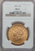Liberty Double Eagles: , 1895 $20 MS61 NGC. NGC Census: (6595/12497). PCGS Population(3793/7966). Mintage: 1,114,656. Numismedia Wsl. Price for pro...