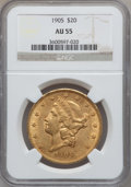 Liberty Double Eagles: , 1905 $20 AU55 NGC. NGC Census: (66/667). PCGS Population (56/545).Mintage: 58,900. Numismedia Wsl. Price for problem free ...