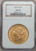 Liberty Double Eagles: , 1893-S $20 AU58 NGC. NGC Census: (325/4431). PCGS Population(304/3209). Mintage: 996,175. Numismedia Wsl. Price for proble...