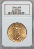 Saint-Gaudens Double Eagles: , 1909 $20 MS61 NGC. NGC Census: (284/672). PCGS Population(203/1470). Mintage: 161,282. Numismedia Wsl. Price for problemf...