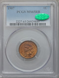 Indian Cents: , 1907 1C MS65 Red and Brown PCGS. CAC. PCGS Population (117/3). NGCCensus: (190/7). Mintage: 108,138,616. Numismedia Wsl. P...