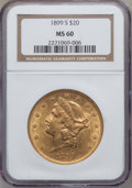 Liberty Double Eagles: , 1899-S $20 MS60 NGC. NGC Census: (297/7548). PCGS Population(285/5398). Mintage: 2,010,300. Numismedia Wsl. Price for prob...