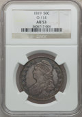 Bust Half Dollars: , 1819 50C AU53 NGC. O-114. NGC Census: (27/233). PCGS Population(34/156). Mintage: 2,208,000. Numismedia Wsl. Price for pr...