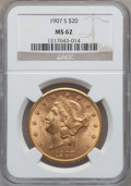 Liberty Double Eagles: , 1907-S $20 MS62 NGC. NGC Census: (1143/1016). PCGS Population(1074/1147). Mintage: 2,165,800. Numismedia Wsl. Price for pr...