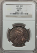 Bust Half Dollars: , 1823 50C AU55 NGC. O-111a. NGC Census: (81/348). PCGS Population(99/289). Mintage: 1,694,200. Numismedia Wsl. Price for p...