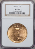 Saint-Gaudens Double Eagles: , 1910-D $20 MS63 NGC. NGC Census: (2084/2215). PCGS Population(1663/3061). Mintage: 429,000. Numismedia Wsl. Price for prob...